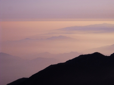 Looking toward the ocean at sunset. The fog helped suppress light pollution from LA while we were observing.