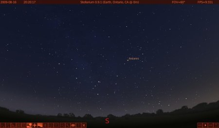 Antares in Stellarium, as it appears right after sunset in the southern part of the US.