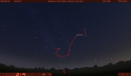 The constellation Scorpio as it appears from the southern US.