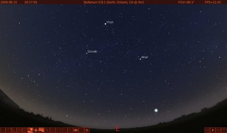 The Summer Triangle in Stellarium. Click to enlarge.