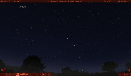The view to the northwest right after sunset in the southern US, in Stellarium.