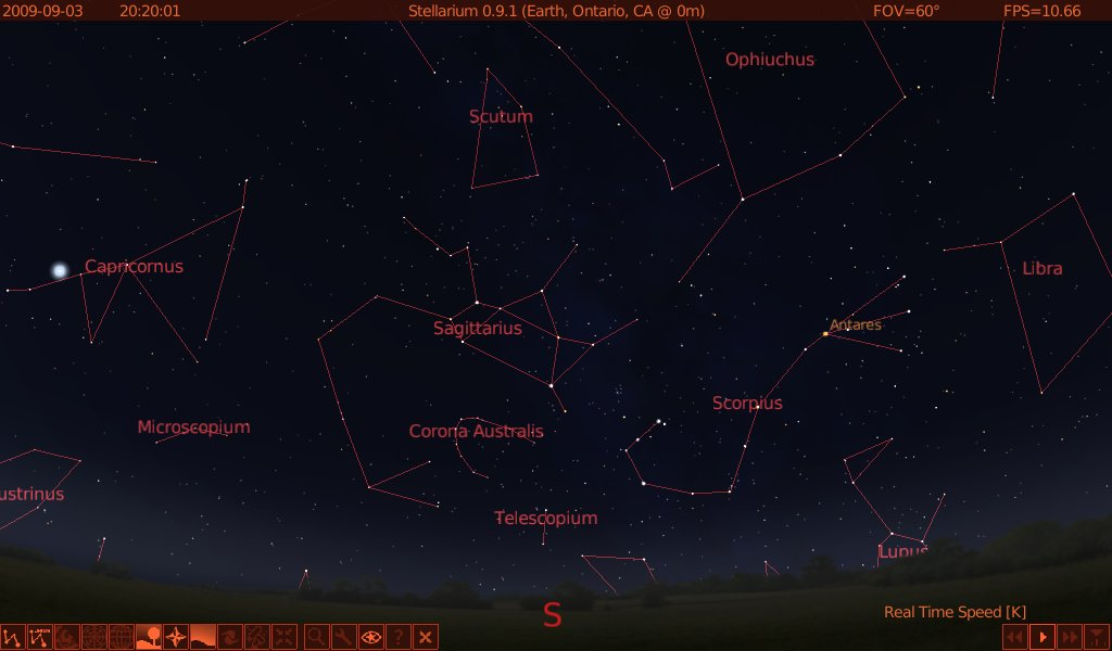 ... find Antares, and to the left/east of Scorpio, look for a teapot.
