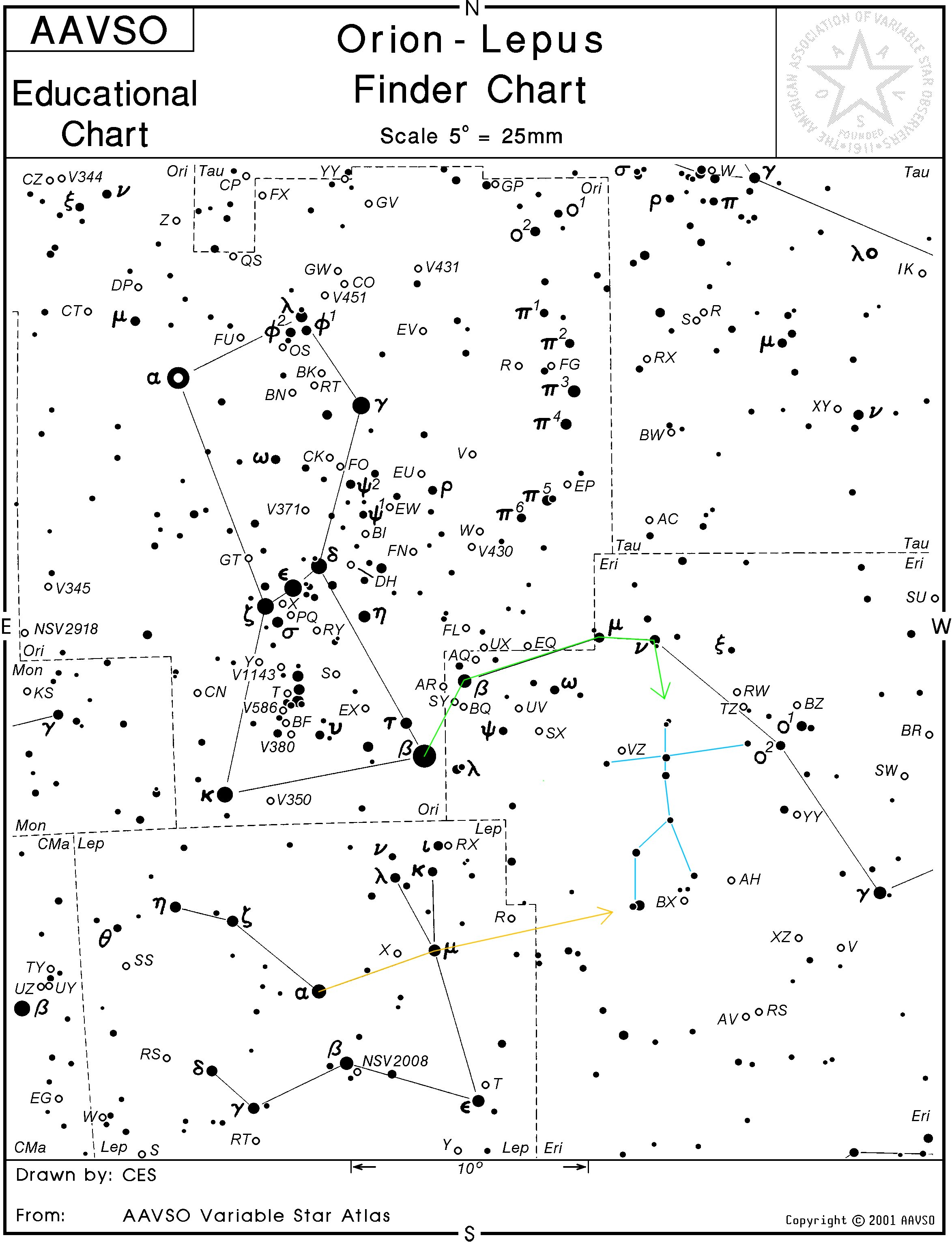 Novae Minute Astronomy - Orion star map
