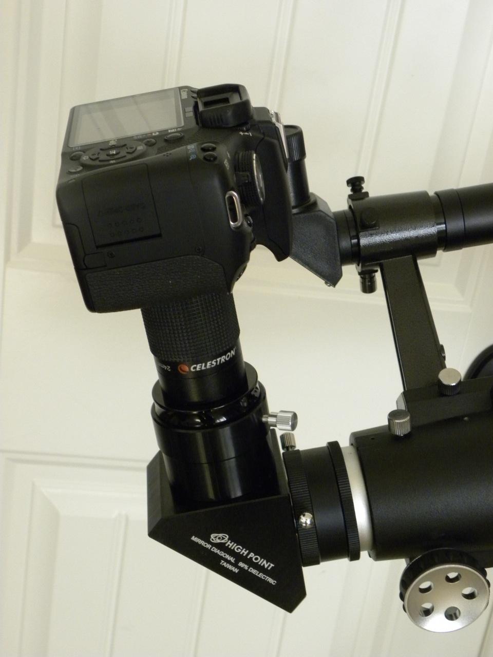 Closeup on diagonal eyepiece and camera