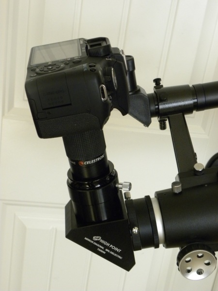 Closeup on diagonal eyepiece and camera