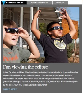 Eclipse story in Claremont Courier