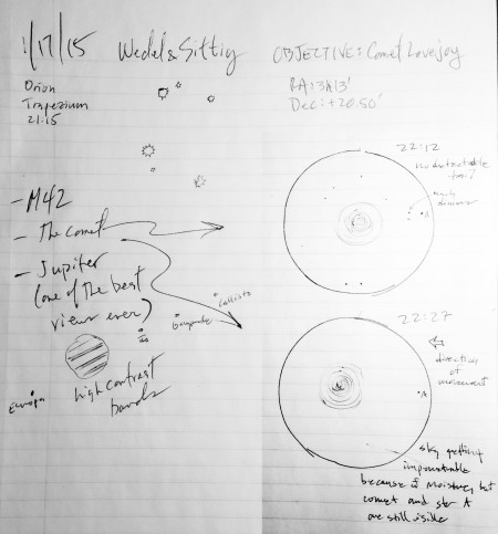 Our notes from January 17 - Steve's sketch of Jupiter and my sketches of the Trapezium and comet Lovejoy.