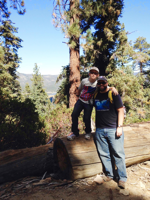 London and Matt hiking above Big Bear Lake