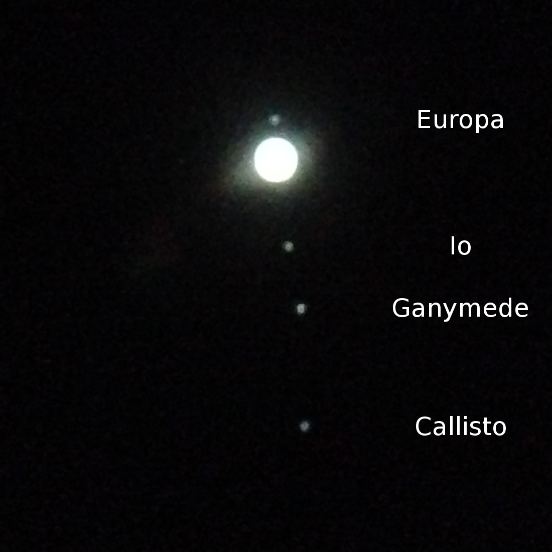 Jupiter and moons 0530 PST 2015-11-15