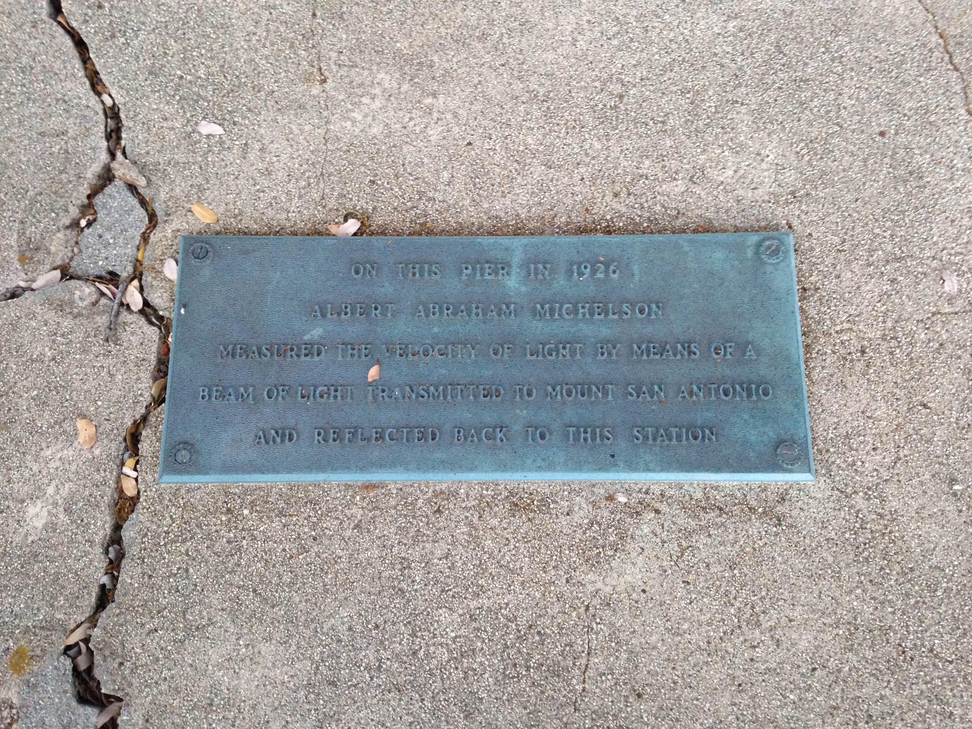 Mt Wilson 10 - lightspeed test plaque
