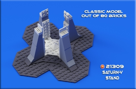 Brick-built stand for Lego Saturn V